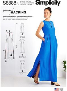 Best 12 Sewing Pattern Loose Fit Dress Pattern, Hackable Dress Pattern, Casual Long Dress Pattern, Simplicity Sewing Pattern 8888 by on Etsy Long Dress Patterns, Dress Sewing Patterns, Sewing Hacks, Sewing Projects, Sewing Tips, Sewing Tutorials, Free Sewing, Baby Sewing, Mode Chic