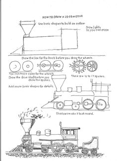 How to Draw Worksheets for The Young Artist: How to Draw a Locomotive. Art lesson, Worksheet