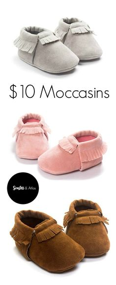 Cute baby moccasins for only $10 a pair from Scarlett & Atlas! Cheap baby moccs, suede baby moccasins, baby shoes, cute baby shoes.