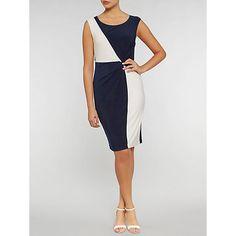 6b02db50799f Gina Bacconi Jersey Geometric Contrast Dress, Navy/Ivory at John Lewis &  Partners