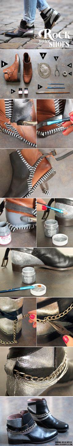 boots, cuir, customisation, customiser ses chaussures,   noir,  paillettes, peinture pour cuir, rock,