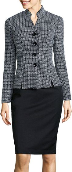 Lesuit Le Suit Long-Sleeve Plaid Notch-Collar Jacket and Skirt Suit Set