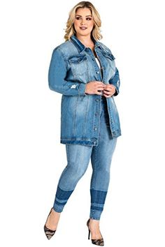 b54426774ac6  104 - Standards   Practices Plus Size Oversized Jean Jacket Light Wash Denim  Loose Jeans