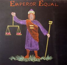 "Waldorf ~ 1st grade ~ Math ~ Four Processes ~ chalkboard drawing ~ Emperor Equal - The Emperor is a true egalitarian and champion of justice; along with his consort Empress Equal (not shown) he rules The Land of Number fairly and with equal concern for all his subjects. ""What is true for the left, is true for the right."" His face is featureless, so as to show no expression nor favoritism. He and his Empress represent the perfect balance of all four temperaments.:"