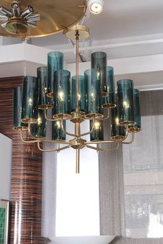 Brass & Blue Glass Tube Chandelier by Hans Agne Jakobsson image 2