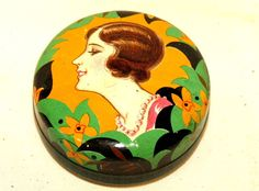 Small Art Deco Lady Candy Bonbon Chocolate Tin 1930