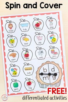 Get this free differentiated ending sounds game for fall. Teach phonics with these fun differentiated apple spin and cover games. - Kids education and learning acts Teaching Phonics, Phonics Activities, Preschool Learning, Teaching Reading, Fun Learning, Learning Spanish, Teaching Resources, Zoo Phonics, Work Activities