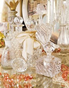 the-crown-queen:  Elegant crystal liquor bottles