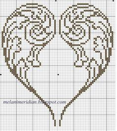 Cross Stitch Angels, Cross Stitch Heart, Blackwork Cross Stitch, Cross Stitching, Embroidery Hearts, Cross Stitch Embroidery, Cross Stitch Designs, Cross Stitch Patterns, Beading Patterns