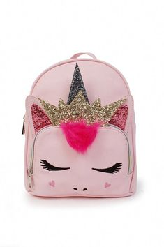 A sassy & shimmery unicorn with glitter accents details a playful backpack perfect for carrying school or overnight essentials. Cute Mini Backpacks, Stylish Backpacks, Girl Backpacks, Fashion Bags, Fashion Backpack, Mini Mochila, Girls Bags, Cute Bags, Girls Accessories