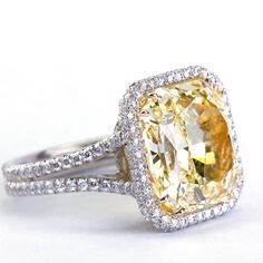 10.04 Carat Fancy Yellow Radiant Cut Diamond Engagement Ring image 5