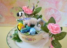 Easter Decoration with Putz Inspired Lamb in by TappaTreasure, $16.50