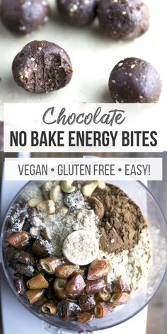 No-bake energy bites with 6 whole food ingredients.ready in 15 minutes! No-bake energy bites with 6 whole food ingredients.ready in 15 minutes! Healthy Vegan Desserts, Healthy Snacks, Healthy Eats, Protein Snacks, Healthy Breakfasts, High Protein, Eating Healthy, Healthy Recipes, Peanut Butter Desserts