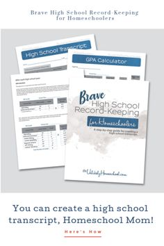 Brave High School Record-Keeping for Homeschoolers #homeschool #highschool #homeschoolmom Homeschool High School, Homeschooling, High School Credits, High School Transcript, Brave, Encouragement, How Are You Feeling, Success, Big Family