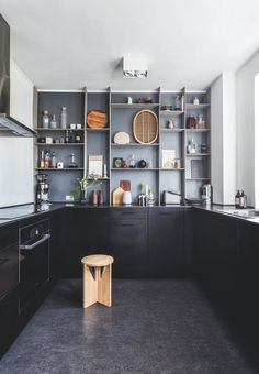 Kristina Dam Studio Home. How gorgeous is this kitchen? The back wall custom shelf makes for a stunning view and contrast to the dark cabinets. Kitchen Dinning, Kitchen Decor, Home Interior, Interior Design Kitchen, Black Kitchens, Home Kitchens, Kitchen Black, Gravity Home, Ideas Hogar