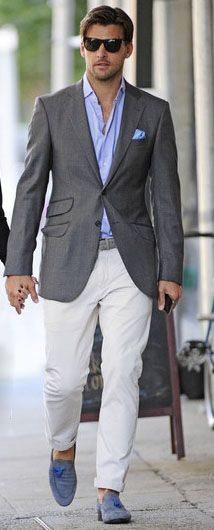 White Pants, Blue Shirt, Gray Sport Coat. Men's Outfit Idea for Summer. Smart Casual | Shop Menswear at designerclothingfans.com