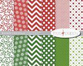 Christmas Digital Scrapbook Paper Pack - Kinsley Red Green. $3.25, via Etsy.