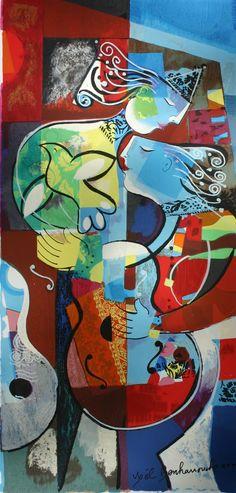 "Yoel Benharrouche (Israel, born 1961)   ~  Le Chant De L'Ame- The Song Of My Soul ~  terrograph  40""x20"",  2011"