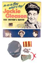 """Classic! Vintage Jackie Gleason bus driver's outfit from """"The Honeymooners."""" This child's toy set contained a vinyl bus driver's cap, money changer, ticket puncher, bus transfers, plastic coins."""