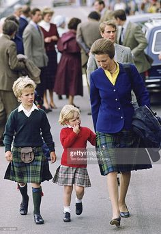 Zara And Peter Phillips With Their Mother, Princess Anne, Arriving In Scrabster, Scotland, For Their Holiday