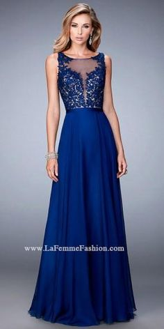 Illusion Embroidered Criss Cross Open Back Prom Gown By La Femme  #dress #fashion #designer #lafemme #edressme