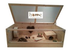 High quality 120x60cm Natural Wood Pygmy Hedgehog Cage with Perspex panels, suitable for African pygmy hedgehogs and other exotic pets, but equally suitable for hamsters, mice, gerbils and guinea pigs. Hand-made in the UK. • Made from 18mm timber frame, 12mm timber panelling, 25x13mm (1 x 1/2) galvanised zinc wire mesh on roof, Perspex front, and plywood base. • Deep drawer allows thick substrate layer for your pet to dig and burrow. • Top frame lifts off base to allow easy cleaning. • ...
