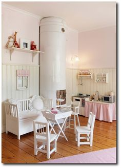 Lovely home corner/play kitchen. Like the use of the curtain to screen storage. Playroom Decor, Kids Decor, Kids Bedroom, Bedroom Decor, Stove Parts, Kids Corner, Play Corner, Little Girl Rooms, Kid Spaces