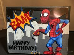 """It's Crystal here and today my card features Spider Stan from Doctor Digi's House of Stamps .I really love the """" Old Super Heroes Dr. Digi has created in h… Digi Stamps, I Card, Spider, Projects To Try, Old Things, Happy Birthday, Invitations, Girlfriends, Card Ideas"""
