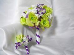 Flower Wedding Bouquet And Boutonniere With Purple White And Green Roses Wedding Sale. $60.00, via Etsy.