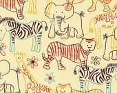 Animal outline flannel fabric - zebras, tigers, elephants, giraffes - hand drawn doodles YARD