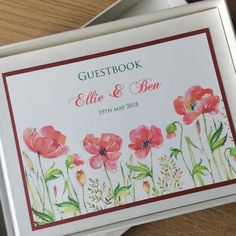 Red Poppies Wedding Guest Book Watercolor Poppies, Red Poppies, Watercolor Print, Stationery Design, Wedding Stationery, Personalized Wedding Guest Book, Luxury Wedding, Color Schemes, Card Stock