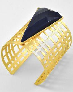 Matte Gold Tone / Navy Acrylic / Lead Compliant / Metal / Cuff Bracelet
