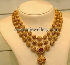 Trendy designer uncut diamond necklace in unique latest design with 3 steps of uncut diamond gold balls. modern uncut diamond necklace with jhumka drop Indian Wedding Jewelry, Bridal Jewelry, India Jewelry, Temple Jewellery, Bridesmaid Jewelry, Indian Bridal, Ball Necklace, Necklace Set, Necklaces