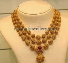 Three Layered Uncut Balls Necklace | Jewellery Designs