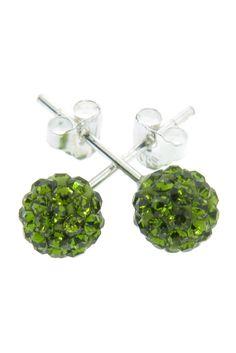 Sterling Silver Czech Crystal Stud Earrings In Peridot