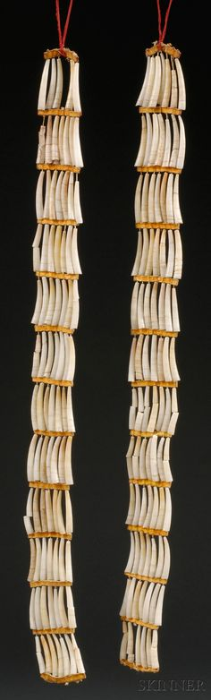 Pair of Plains Dentalia Shell Ear Ornaments with rawhide spacers | ca. 1900, Lakota | 474$ ~ Sold