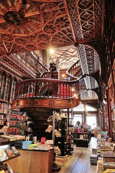 Livraria Lello, Porto, Portugal — by Gail at Large Beautiful Library, Dream Library, Library Architecture, Architecture Design, Livraria Lello Porto, Portugal Travel, Stairways, Places To Go, Beautiful Places
