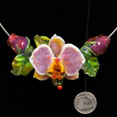 Glass Lampwork Bead Flower - Yellow Throated Orchid with Pink Rose Buds by Patsy Evins