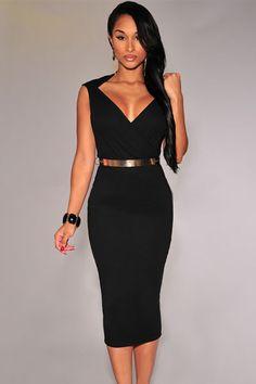 Black Faux Wrap Belted Fashion Midi Dress Sale LAVELIQ