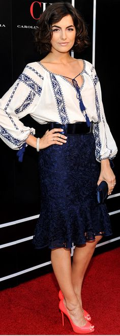 Who made  Camilla Belle's blue skirt and white tassle top that she wore in Los Angeles?