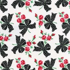 This entire collection...unf! Michael Miller House Designer - Retro Florals - Faye in Black #fabric