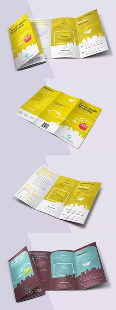 Social Media Tri-fold Brochure Template PSD - A4 & Letter Size