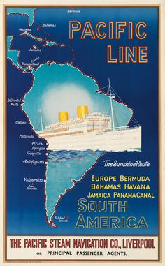 Pacific Line - South America - 1930's -