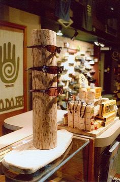 wood sunglasses display. (lots of other cool wood display ideas too)