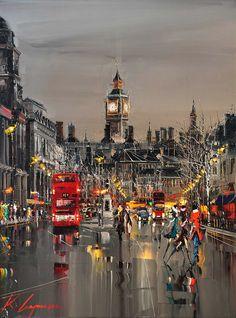 Oil painting about London city by Kal Gajoum. City Art, City Painting, London Painting, Painting Art, Knife Painting, Art Sculpture, Photos Voyages, London Art, Beautiful Paintings