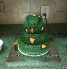 Coolest Snake Cake... This website is the Pinterest of birthday cake ideas
