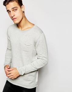 "Jumper by Pull&Bear Lightweight knit Rolled seams Crew neck Chest pocket Regular fit - true to size Machine wash 100% Cotton Our model wears a size Medium and is 185.5cm/6'1"" tall"