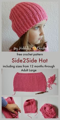 Baby Knitting Patterns Headband Hat - Free Crochet pattern in 6 sizes months - Adult Large) on myh. Easy Crochet Hat, Bonnet Crochet, Crochet Beanie Pattern, Crochet Scarves, Baby Knitting Patterns, Crochet Crafts, Easy Crochet Patterns, Crochet Projects, Hat Patterns