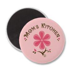 Mom's Kitchen Whimsical Flower Fridge Magnet