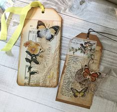 Two Vintage style tags for junk journals